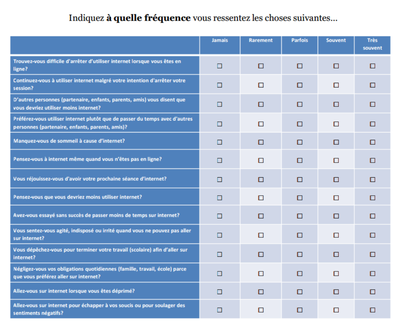 usages d'internet questionnaire